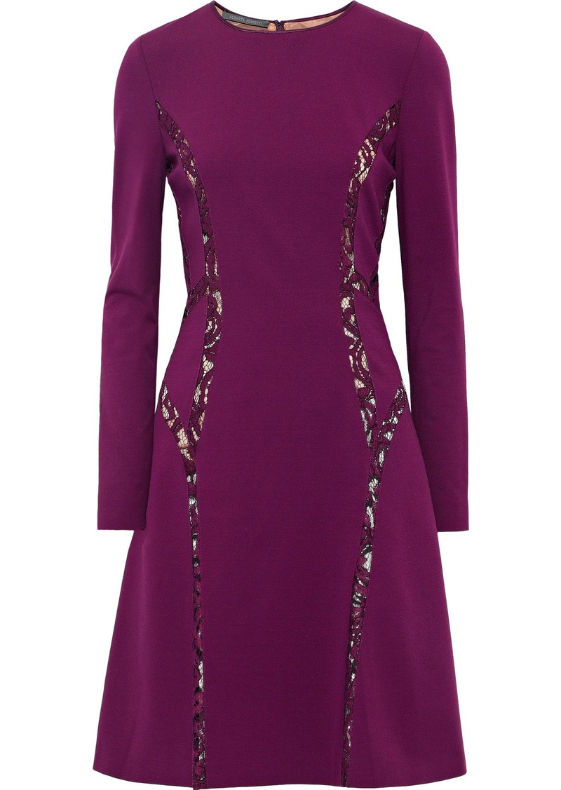 Alberta Ferretti Woman Lace-trimmed Crepe Dress Purple