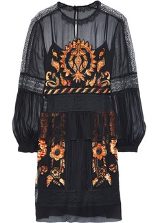 Alberta Ferretti Woman Lace-trimmed Embellished Silk-chiffon Dress Black
