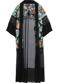 Alberta Ferretti Woman Lace-trimmed Embroidered Tulle And Silk-chiffon Kimono Black