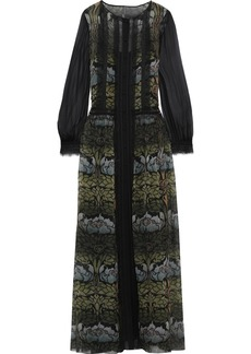 Alberta Ferretti Woman Lace-trimmed Floral-print Silk-chiffon Maxi Dress Dark Green
