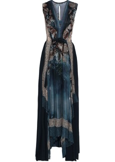 Alberta Ferretti Woman Lace-trimmed Gathered Printed Silk-chiffon Gown Blue