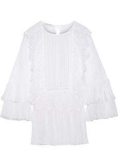 Alberta Ferretti Woman Lace-trimmed Pleated Chiffon-paneled Cotton-gauze Top White