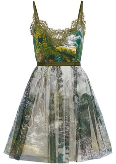 Alberta Ferretti Woman Lace-trimmed Printed Faille And Tulle Mini Dress Green