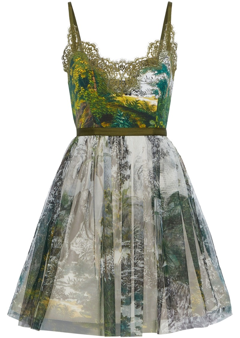 Alberta Ferretti Woman Lace-trimmed Printed Faille And Tulle Mini Dress Green