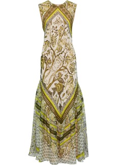 Alberta Ferretti Woman Lace-trimmed Printed Silk-chiffon Maxi Dress Sage Green