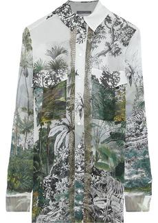 Alberta Ferretti Woman Lace-trimmed Printed Silk-chiffon Shirt Ivory
