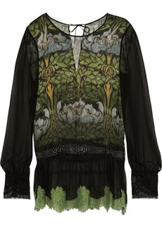 Alberta Ferretti Woman Lace-trimmed Printed Silk-chiffon Top Leaf Green