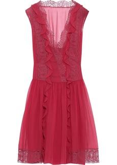 Alberta Ferretti Woman Lace-trimmed Ruffled Silk-chiffon Mini Dress Crimson
