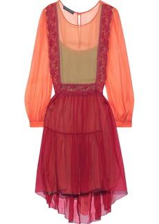 Alberta Ferretti Woman Lace-trimmed Two-tone Silk-chiffon Mini Dress Crimson