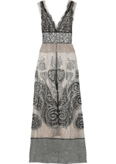 Alberta Ferretti Woman Lamé-paneled Metallic Lace Gown Platinum