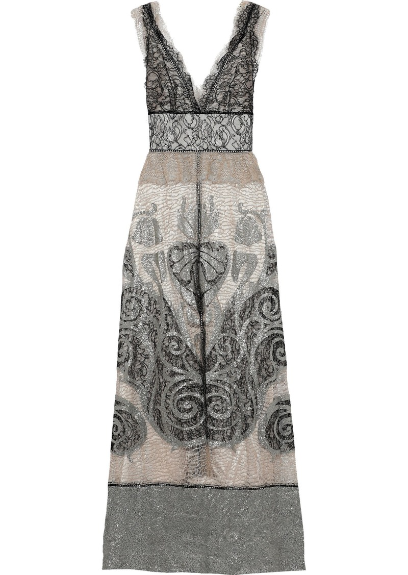 Alberta Ferretti Woman Lamé-paneled Metallic Lace Gown Platinum