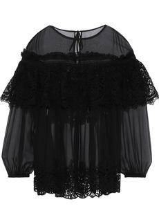 Alberta Ferretti Woman Layered Lace-paneled Silk-chiffon Blouse Black