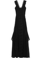 Alberta Ferretti Woman Layered Lace-trimmed Georgette Gown Black