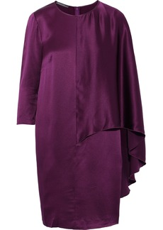 Alberta Ferretti Woman Layered Silk-satin Mini Dress Plum