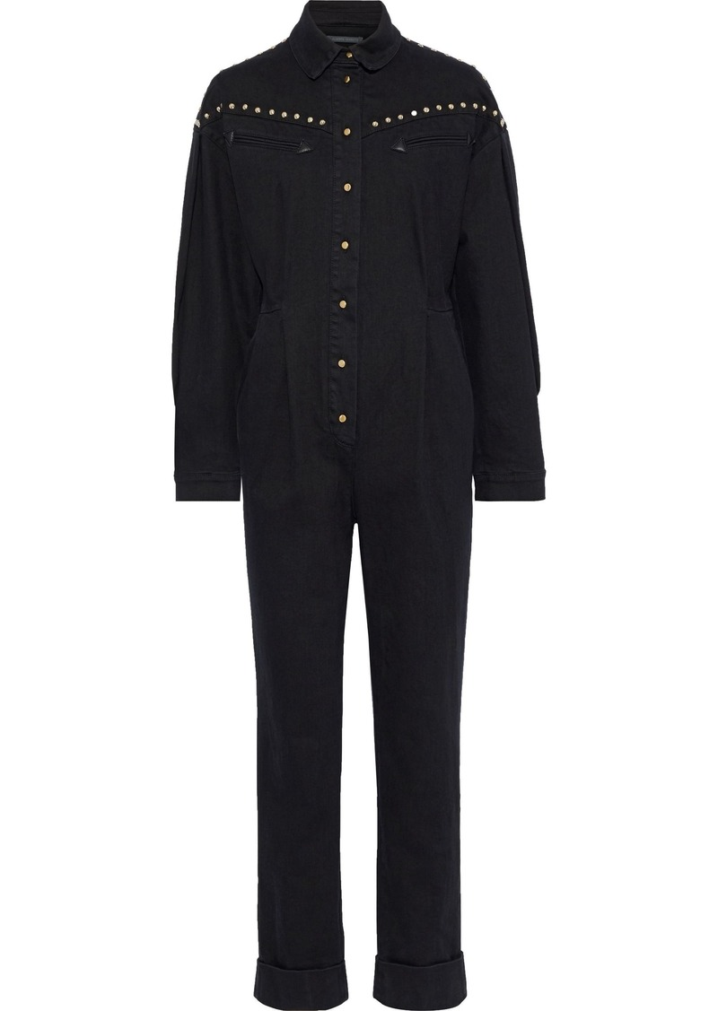 Alberta Ferretti Woman Leather-paneled Studded Denim Jumpsuit Black