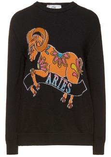 Alberta Ferretti Woman Love Me Starlight Aries Intarsia-knit Sweater Black