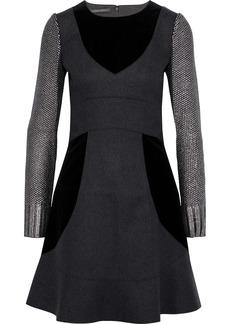 Alberta Ferretti Woman Metallic Bouclé-knit Velvet And Wool-blend Felt Mini Dress Gray