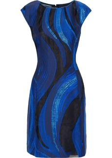 Alberta Ferretti Woman Metallic Fil Coupé Organza Mini Dress Blue