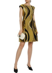 Alberta Ferretti Woman Metallic Fil Coupé Organza Mini Dress Mustard