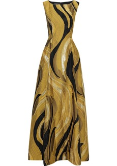 Alberta Ferretti Woman Metallic Fil Coupé Woven Gown Mustard