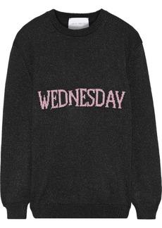 Alberta Ferretti Woman Metallic Intarsia-knit Sweater Black