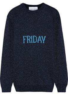 Alberta Ferretti Woman Metallic Intarsia-knit Sweater Navy