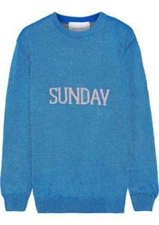 Alberta Ferretti Woman Metallic Intarsia-knit Sweater Blue