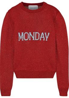 Alberta Ferretti Woman Metallic Intarsia-knit Sweater Red