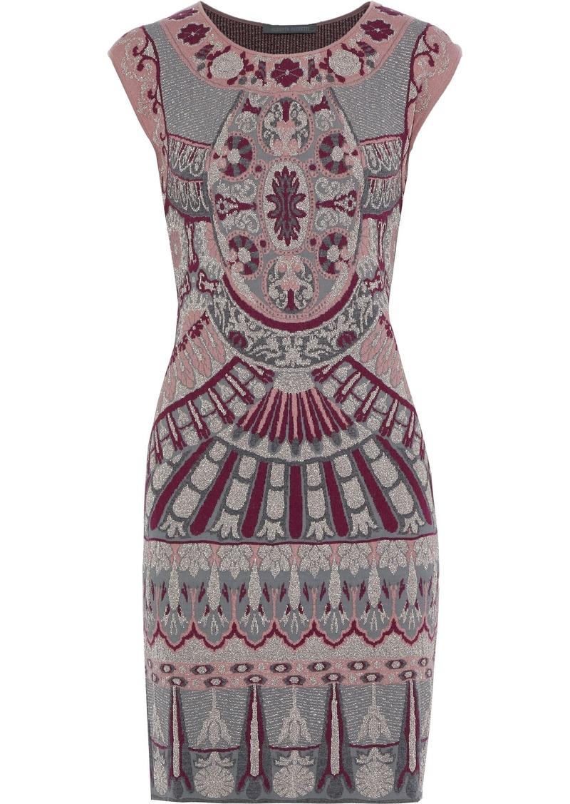 Alberta Ferretti Woman Metallic Jacquard-knit Mini Dress Dark Gray