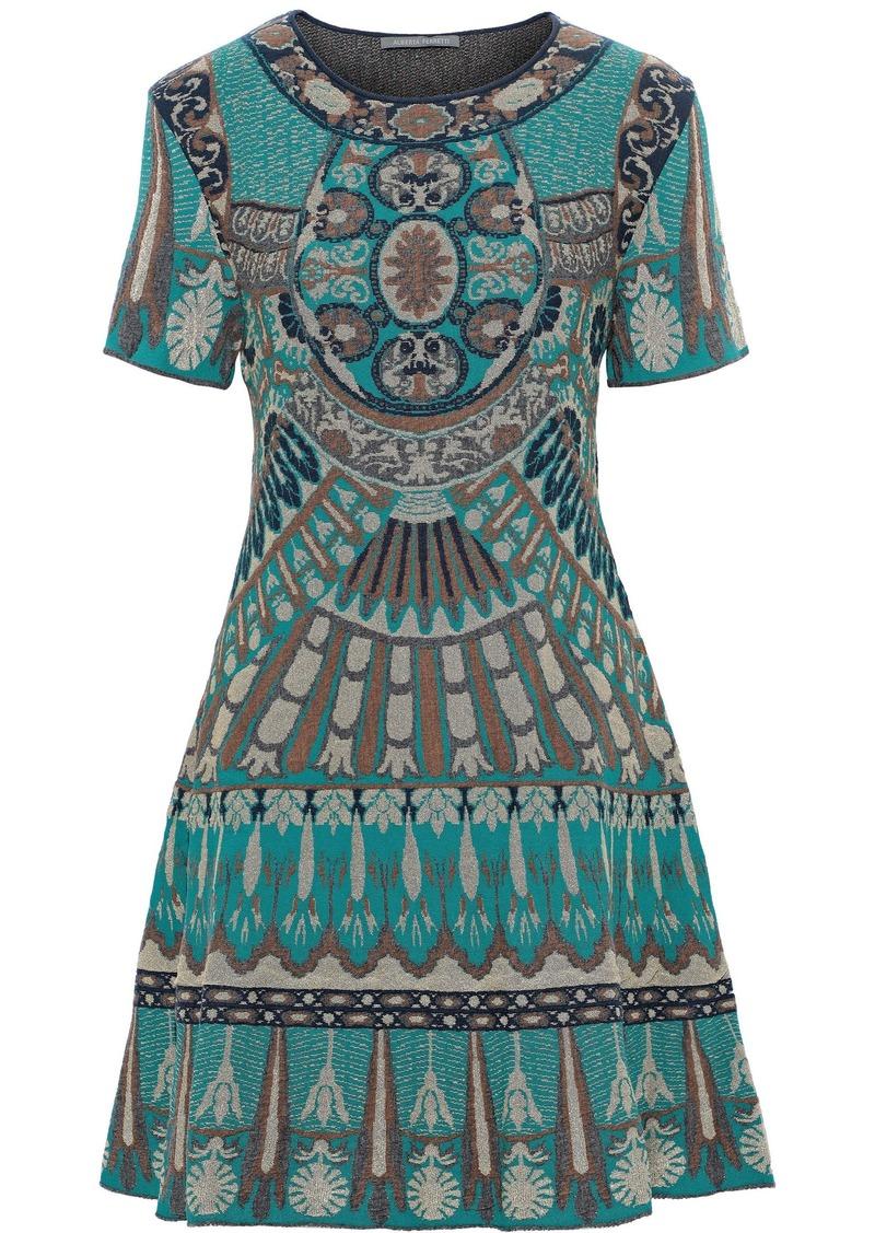 Alberta Ferretti Woman Metallic Jacquard-knit Mini Dress Jade