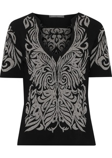 Alberta Ferretti Woman Metallic Jacquard-knit Top Black