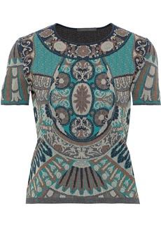 Alberta Ferretti Woman Metallic Jacquard-knit Top Jade