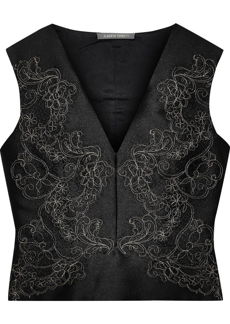 Alberta Ferretti Woman Metallic Lace-appliquéd Satin Top Black