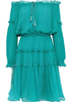Alberta Ferretti Woman Off-the-shoulder Gathered Ruffled Silk-chiffon Dress Teal