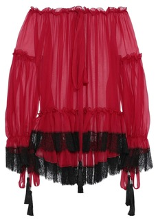 Alberta Ferretti Woman Off-the-shoulder Lace-trimmed Gathered Silk-chiffon Blouse Red