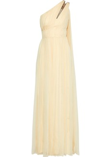 Alberta Ferretti Woman One-shoulder Cutout Pleated Silk-georgette Gown Beige