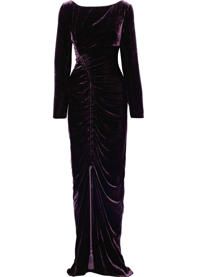 Alberta Ferretti Woman Open-back Ruched Velvet Gown Purple