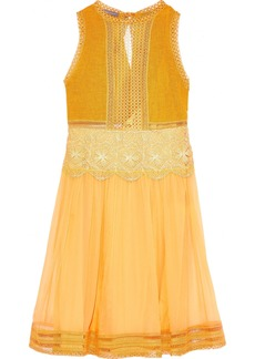 Alberta Ferretti Woman Paneled Linen-blend Guipure Lace And Silk-georgette Dress Saffron