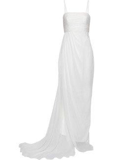 Alberta Ferretti Woman Pleated Draped Silk-chiffon Gown White