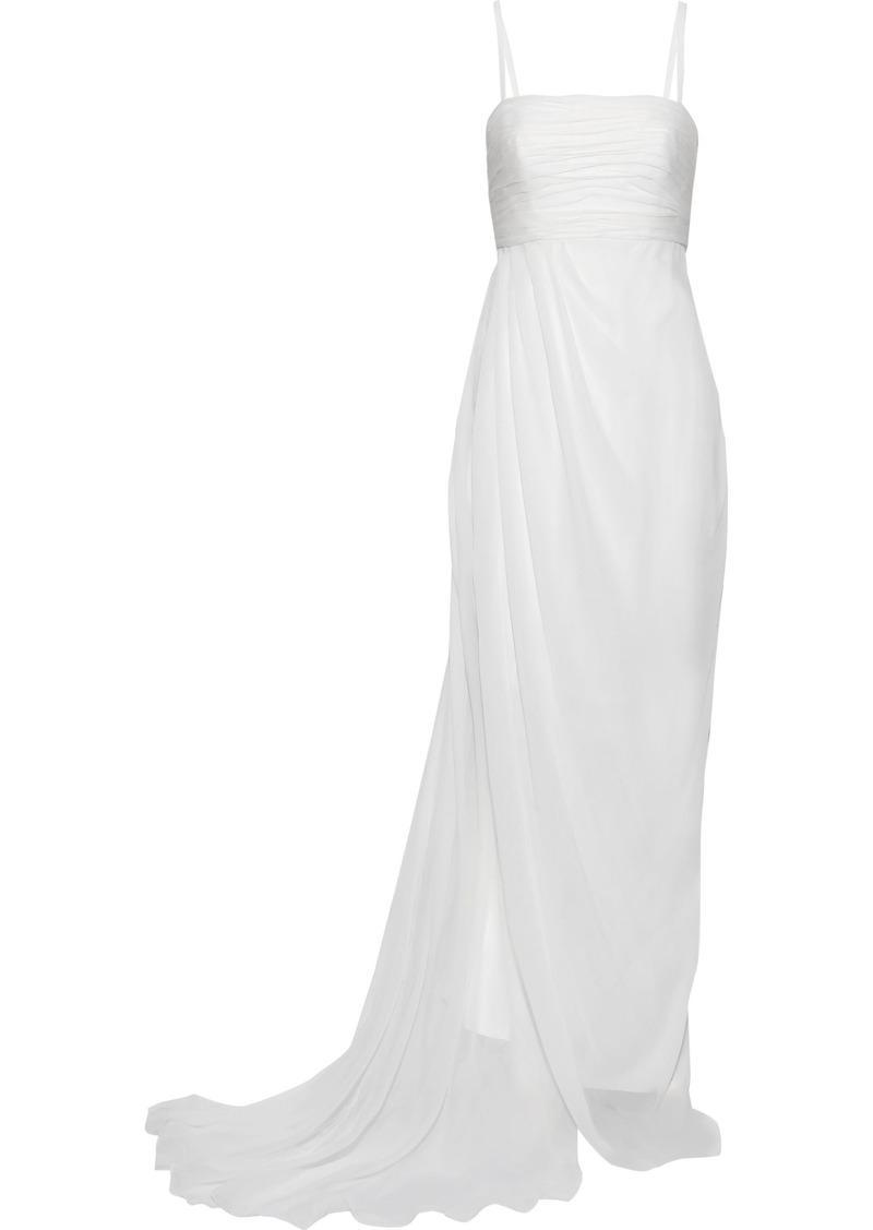 Alberta Ferretti Woman Pleated Draped Silk-chiffon Gown White