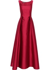 Alberta Ferretti Woman Pleated Duchesse-satin Gown Crimson