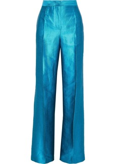 Alberta Ferretti Woman Pleated Linen-blend Shantung Wide-leg Pants Turquoise