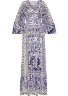Alberta Ferretti Woman Pleated Printed Chiffon Maxi Dress Lavender