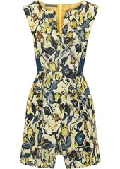 Alberta Ferretti Woman Pleated Printed Cotton-blend Faille Mini Dress Multicolor