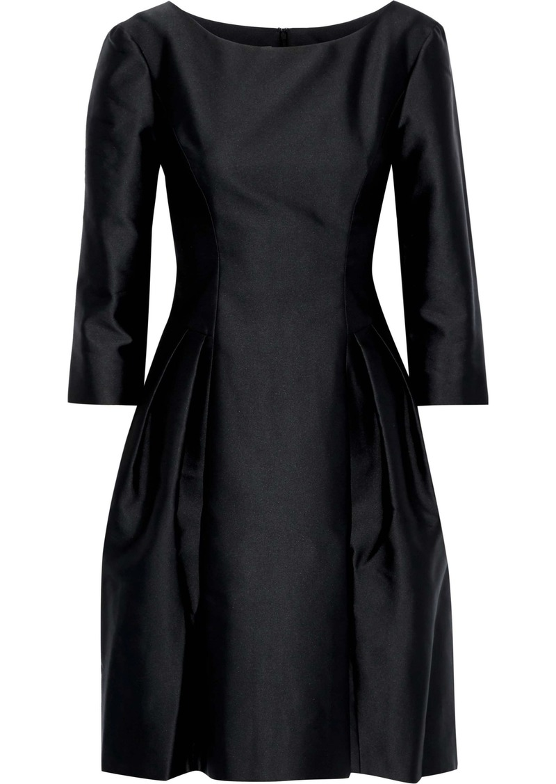 Alberta Ferretti Woman Pleated Satin Dress Black