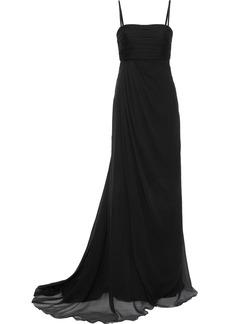 Alberta Ferretti Woman Pleated Silk-chiffon Gown Black