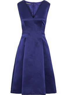 Alberta Ferretti Woman Pleated Silk-satin Dress Indigo