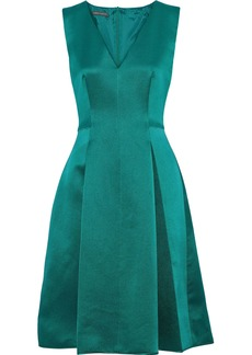 Alberta Ferretti Woman Pleated Silk-satin Dress Jade