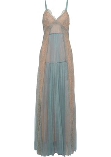 Alberta Ferretti Woman Pleated Tulle And Lace Gown Grey Green