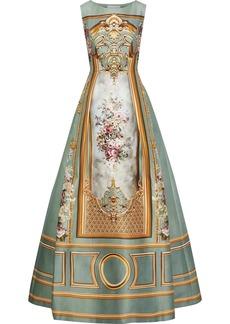 Alberta Ferretti Woman Printed Cotton-blend Duchesse-satin Gown Light Green